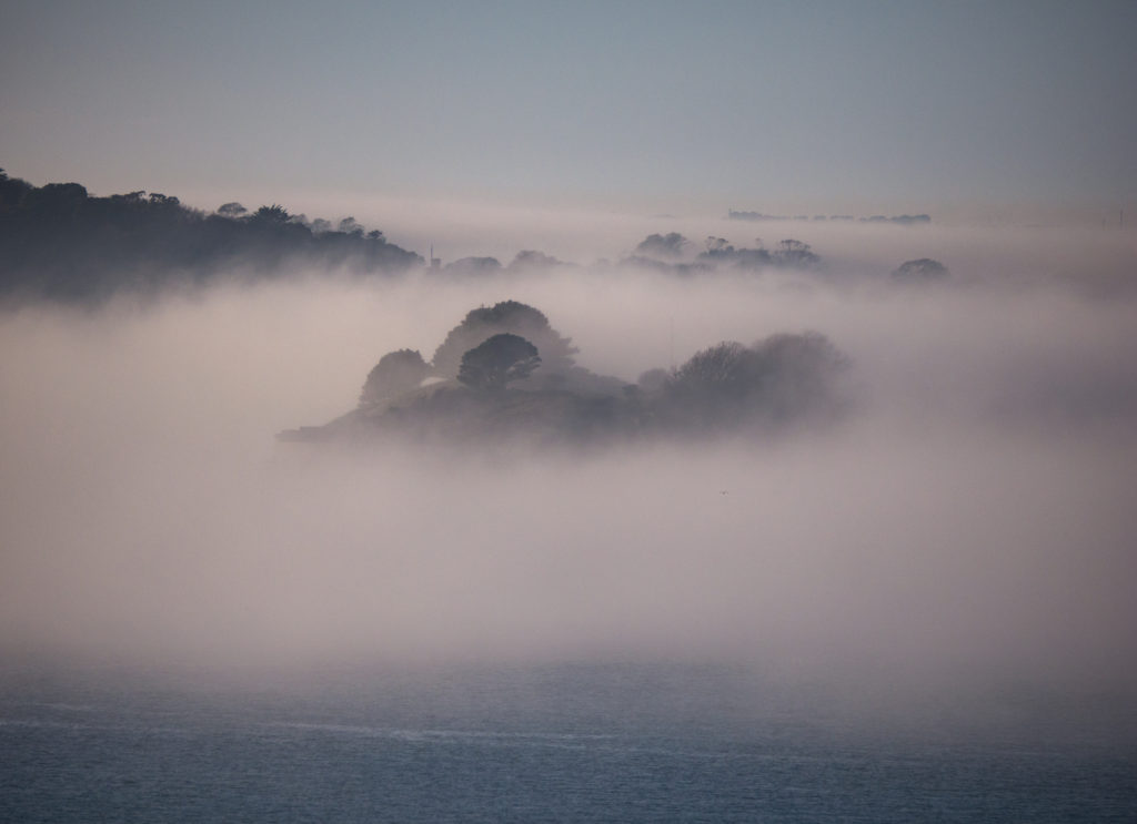drake's island in mist, plymouth sound
